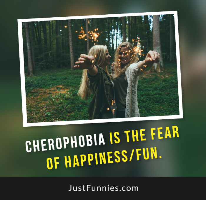 Cherophobia is the fear of happiness,fun.
