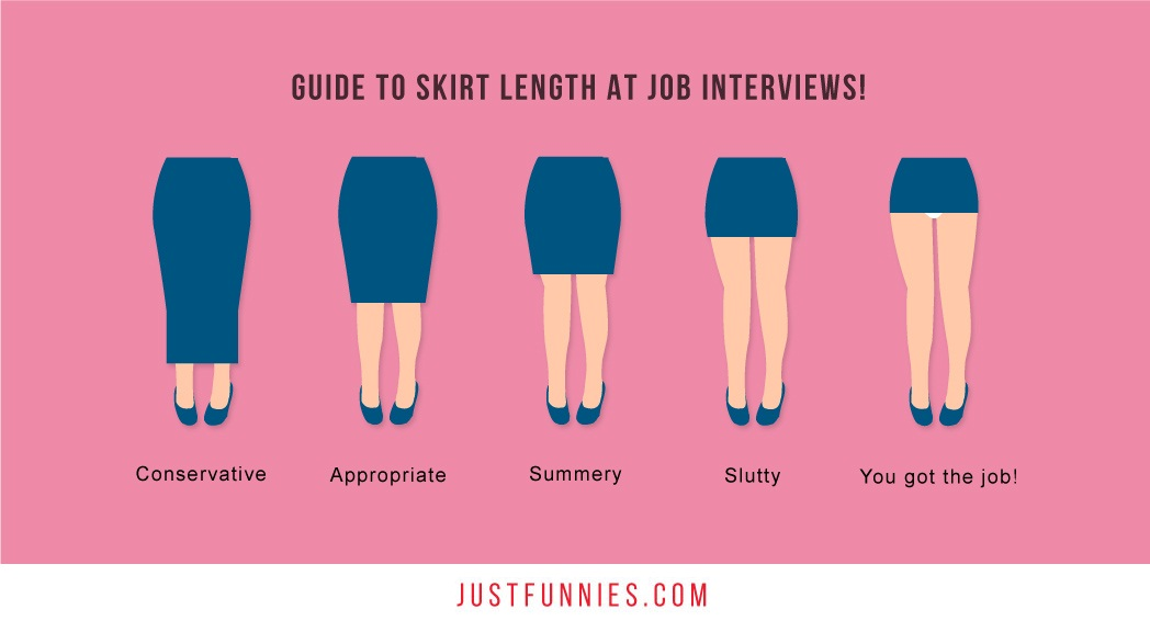 guide to skirt length at job interviews