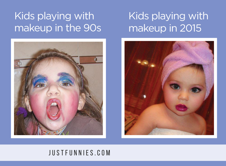 Kids playing with makeup in the 90s