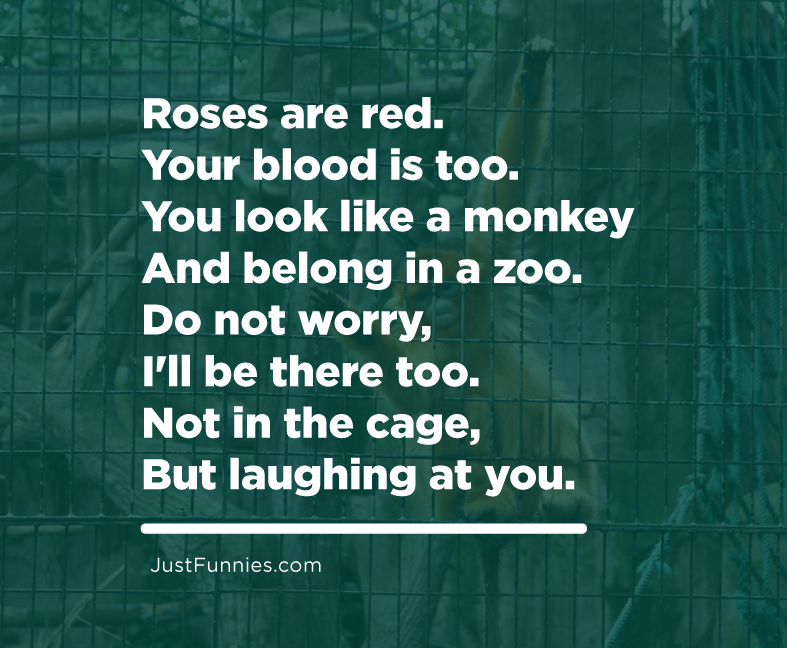 Roses are red. Your blood is too.You look like a monkey And belong in a zoo.Do not worry,I'll be there too.Not in the cage, But laughing at you.