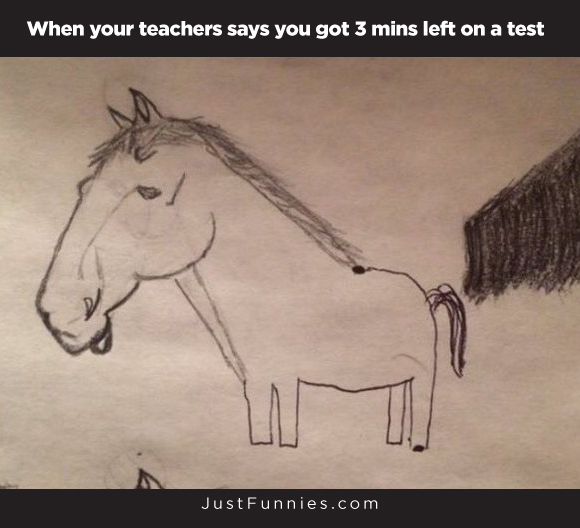 When your teachers says you got 3 mins left on a test